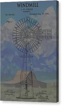 Patent Art Windmill And Mountains Canvas Print