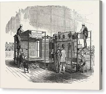 Patent Vertical Printing Machine, In The Great Exhibition Canvas Print by English School