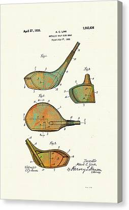 Patented Golf Club Heads 1926 Canvas Print by Marlene Watson