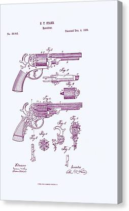 Patented Revolver In Purple Canvas Print by Georgia Fowler