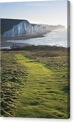 Path Along Seaford Head Towards Seven Sisters Canvas Print by Matthew Gibson