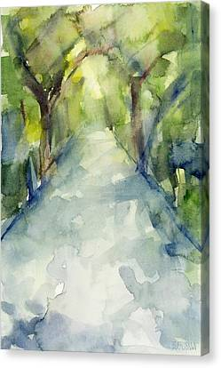 City Scenes Canvas Print - Path Conservatory Garden Central Park Watercolor Painting by Beverly Brown Prints