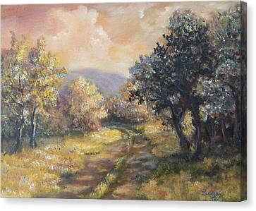 Path In The Woods Canvas Print by  Luczay