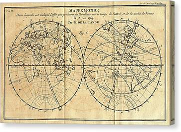 Path Of The 1761 Transit Of Venus Canvas Print by American Philosophical Society