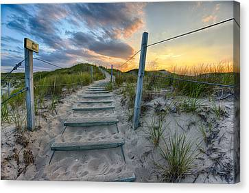 Canvas Print featuring the photograph Path Over The Dunes by Sebastian Musial