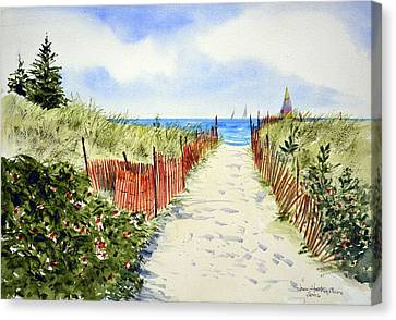 Path To East Beach-watch Hill Ri Canvas Print by Joan Hartenstein