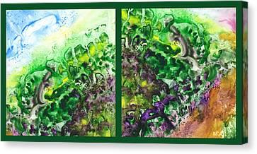 Path To The Unknown Diptych In Green Canvas Print by Irina Sztukowski