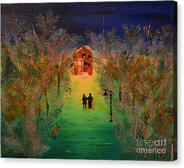 Canvas Print featuring the painting Pathway Home by Denise Tomasura