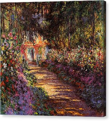 Pathway In Monets Garden In Giverny Canvas Print