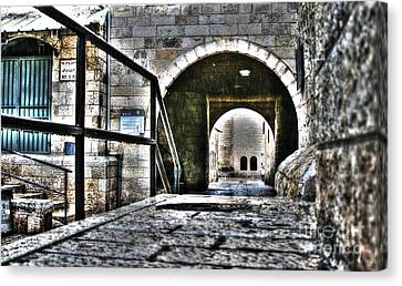 Canvas Print featuring the photograph Pathway Through Old Jerusalem by Doc Braham