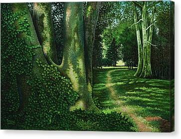 Canvas Print featuring the painting Pathway Through The Sycamores by Michael Frank
