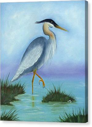 Patience Blue Heron Canvas Print by Mary Gaines
