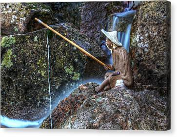 Patient Angler Canvas Print by Andrew Pacheco