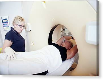 Patient In A Ct Scanner Canvas Print by Thomas Fredberg