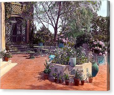 Patio And Flower Pots Canvas Print by Terry Reynoldson