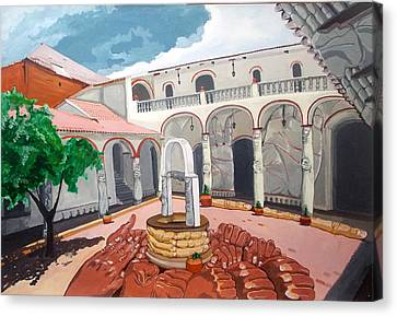 Canvas Print featuring the painting Patio Colonial by Lazaro Hurtado