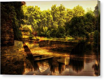 Patio Seating At The Nature Center Merged Image Canvas Print by Thomas Woolworth
