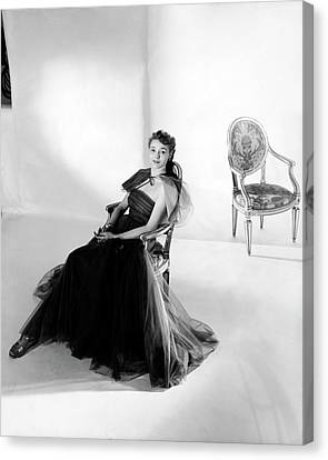 Patricia Neal Wearing A Tulle Dress Canvas Print by Horst P. Horst