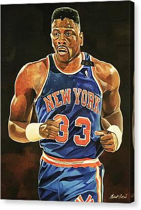 Patrick Ewing Canvas Print - Patrick Ewing New York Knicks by Michael  Pattison