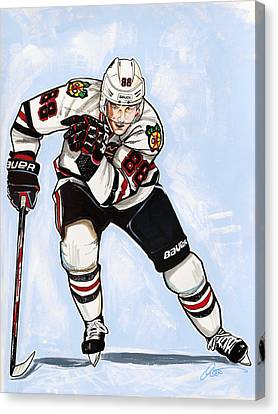 Patrick Kane Of The Chicago Blackhawks Canvas Print by Dave Olsen