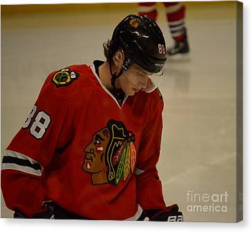 Canvas Print featuring the photograph Patrick Kane Reflects by Melissa Goodrich