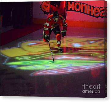 Canvas Print featuring the photograph Patrick Kane Takes The Ice by Melissa Goodrich