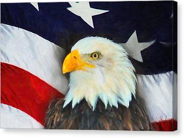 Patriotic American Flag And Eagle Canvas Print