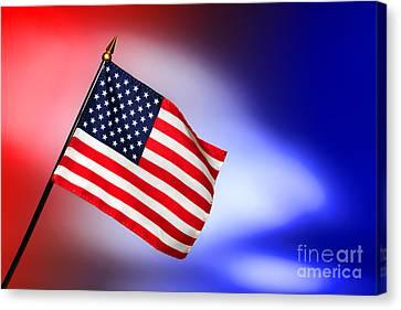 Patriotic American Flag Canvas Print by Olivier Le Queinec