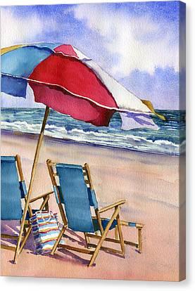 Patriotic Beach Umbrellas Canvas Print by Beth Kantor