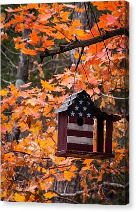 Canvas Print featuring the photograph Patriotic Birdhouse - 02 by Wayne Meyer