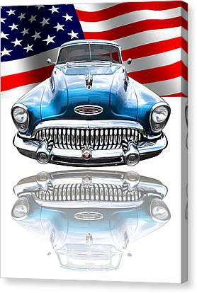 Patriotic Buick Riviera 1953 Canvas Print by Gill Billington