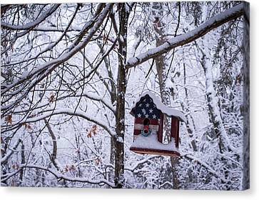 Canvas Print featuring the photograph Patriotic Christmas by Wayne Meyer