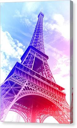 Patriotic Eiffel Tower Canvas Print by Olivier Le Queinec