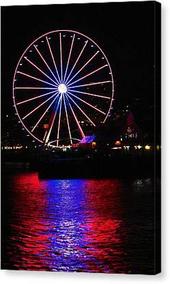 Patriotic Ferris Wheel Canvas Print by Kym Backland