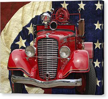 Patriotic Fire Truck Canvas Print