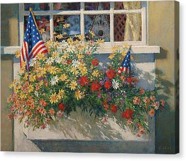 Patriotic Flower Box Canvas Print by Sharon Will