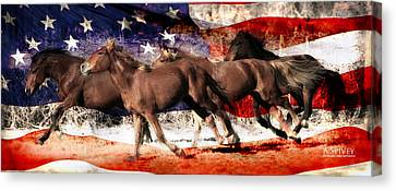 Patriotic Freedom Run Canvas Print by Amy Spivey