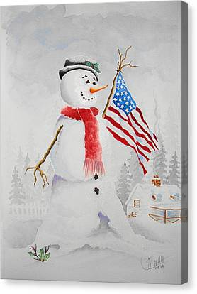 Patriotic Snowman Canvas Print