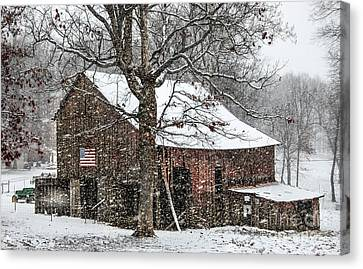 Patriotic Tobacco Barn Canvas Print by Debbie Green