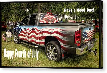 Patriotic Truck Canvas Print by Dorothy Cunningham