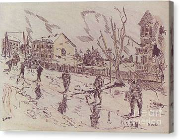 Ww Ii Canvas Print - Patrol In Metz by David Neace