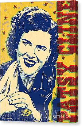 Johnny Cash Canvas Print - Patsy Cline Pop Art by Jim Zahniser