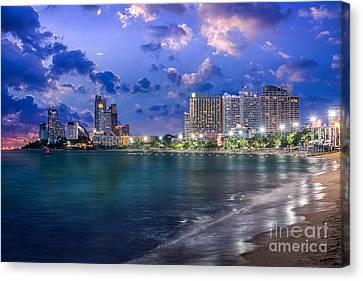 Pattaya City And Sea In Twilight Canvas Print