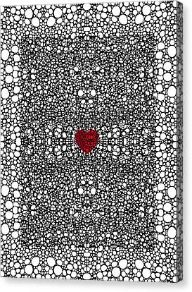Pattern 19 - Heart Art - Black And White Exquisite Pattern By Sharon Cummings Canvas Print by Sharon Cummings