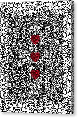 Pattern 34 - Heart Art - Black And White Exquisite Patterns By Sharon Cummings Canvas Print by Sharon Cummings