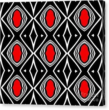 Pattern Geometric Black White Red Art No.391. Canvas Print by Drinka Mercep
