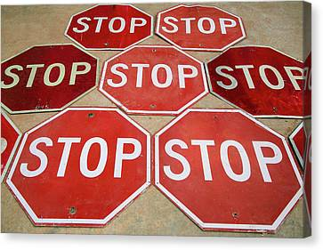 Pattern Of Stop Signs, Tucumcari, New Canvas Print by Julien Mcroberts
