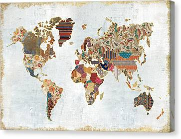 Pattern World Map Canvas Print by Laura Marshall