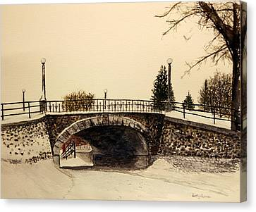 Patterson Creek Bridge In Winter Canvas Print by Betty-Anne McDonald