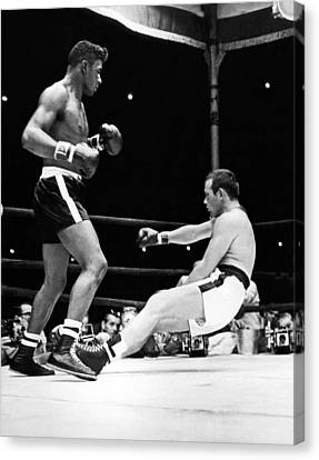 Patterson Knocks Out Johansson Canvas Print by Underwood Archives
